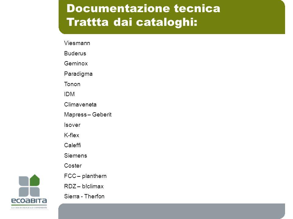 Documentazione tecnica Trattta dai cataloghi: Viesmann Buderus Geminox Paradigma Tonon IDM Climaveneta Mapress – Geberit Isover K-flex Caleffi Siemens