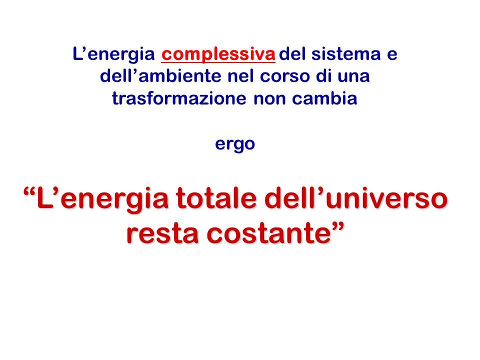 Lenergia totale delluniverso resta costante Lenergia complessiva del sistema e dellambiente nel corso di una trasformazione non cambia ergo