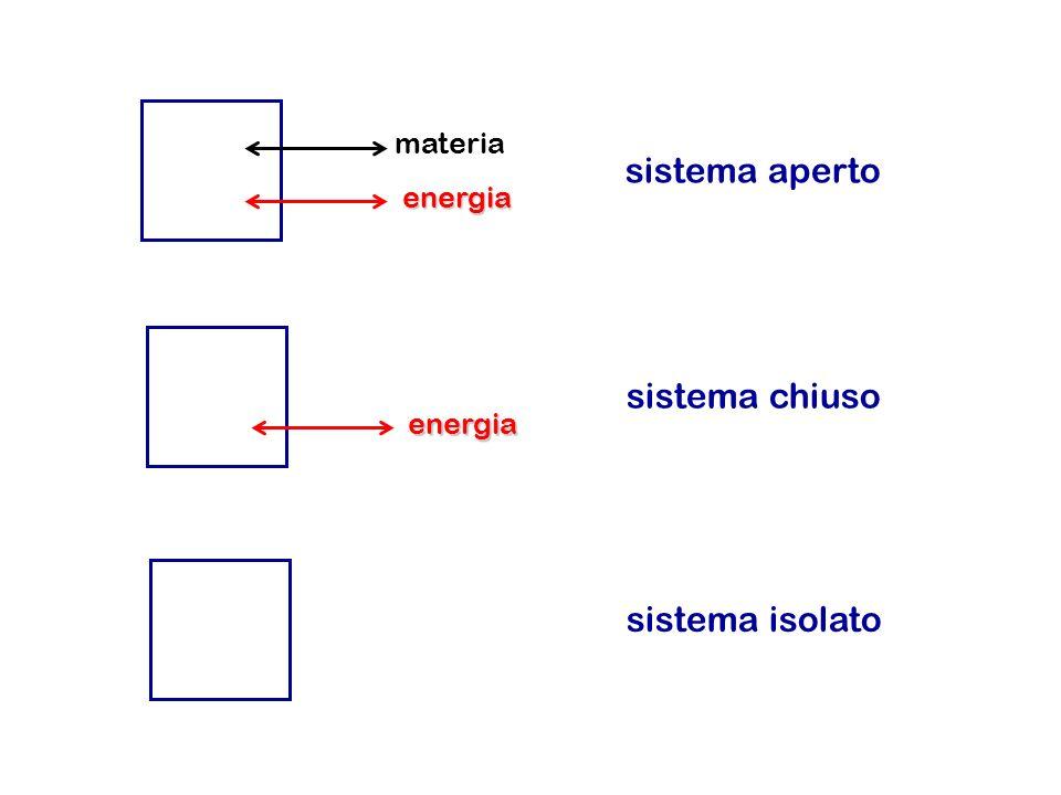 materia energia energia sistema aperto sistema chiuso sistema isolato