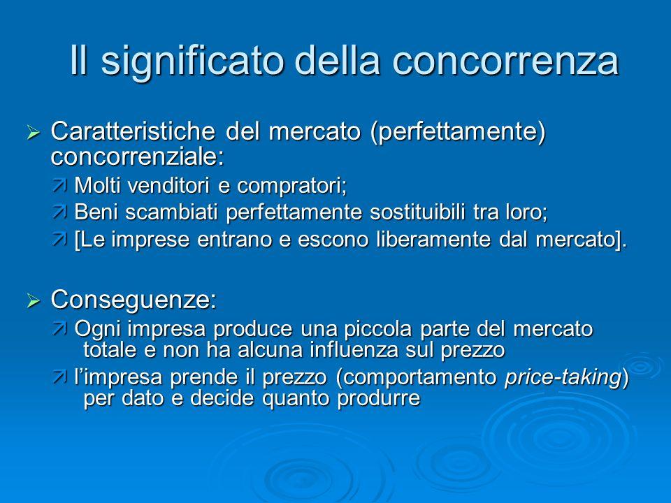 Il significato della concorrenza Caratteristiche del mercato (perfettamente) concorrenziale: Caratteristiche del mercato (perfettamente) concorrenzial