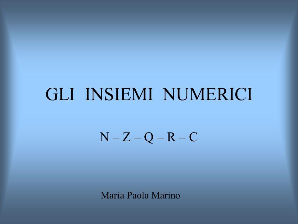 GLI INSIEMI NUMERICI N – Z – Q – R – C Maria Paola Marino