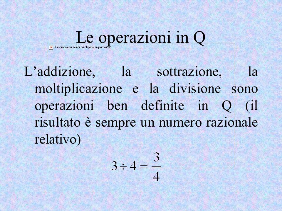 Le operazioni in Q Laddizione, la sottrazione, la moltiplicazione e la divisione sono operazioni ben definite in Q (il risultato è sempre un numero razionale relativo)