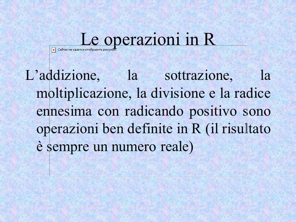 Le operazioni in R Laddizione, la sottrazione, la moltiplicazione, la divisione e la radice ennesima con radicando positivo sono operazioni ben definite in R (il risultato è sempre un numero reale)
