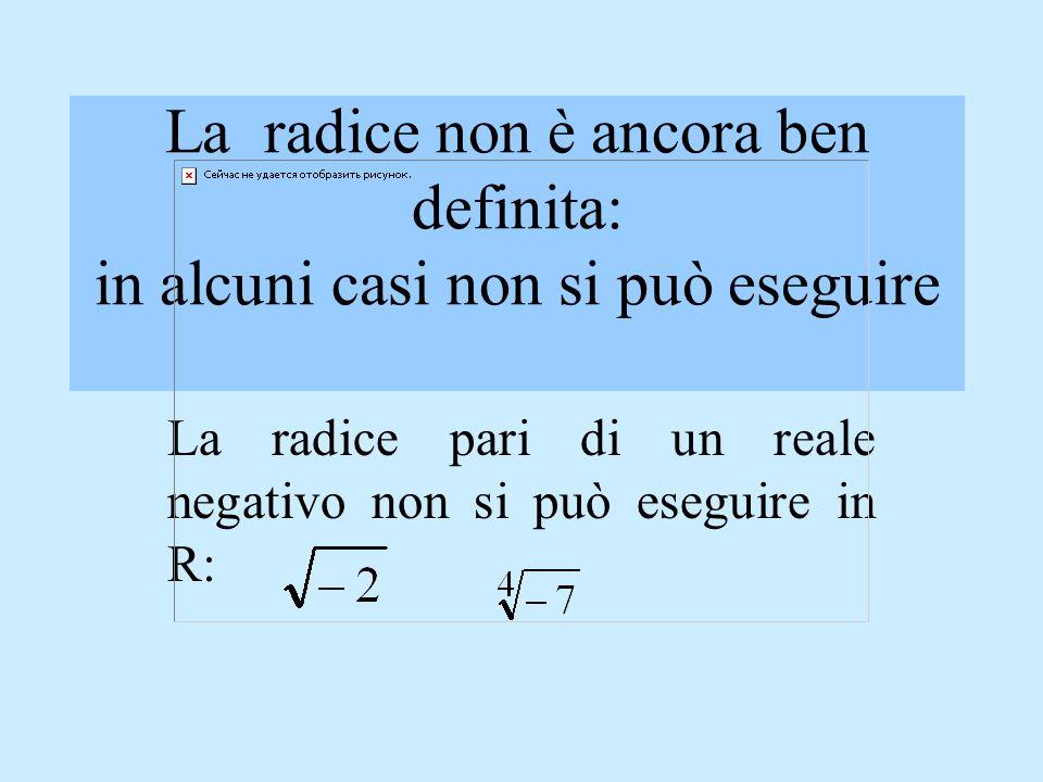 Le operazioni in R Laddizione, la sottrazione, la moltiplicazione, la divisione e la radice ennesima con radicando positivo sono operazioni ben defini