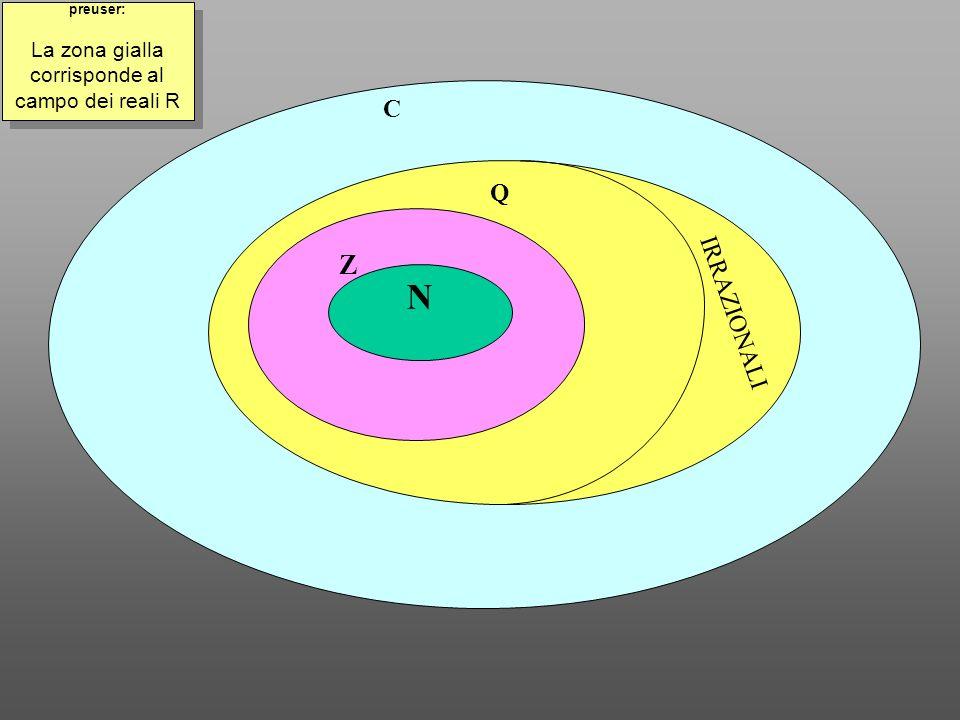 N Z Q IRRAZIONALI C preuser: La zona gialla corrisponde al campo dei reali R preuser: La zona gialla corrisponde al campo dei reali R