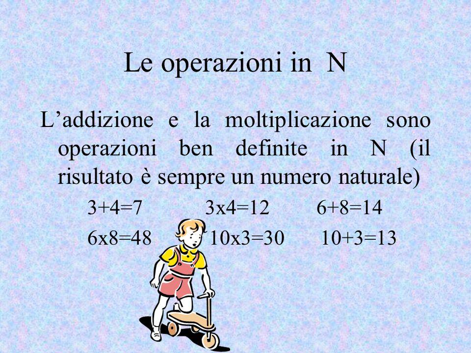 Le operazioni in N Laddizione e la moltiplicazione sono operazioni ben definite in N (il risultato è sempre un numero naturale) 3+4=7 3x4=12 6+8=14 6x8=48 10x3=30 10+3=13