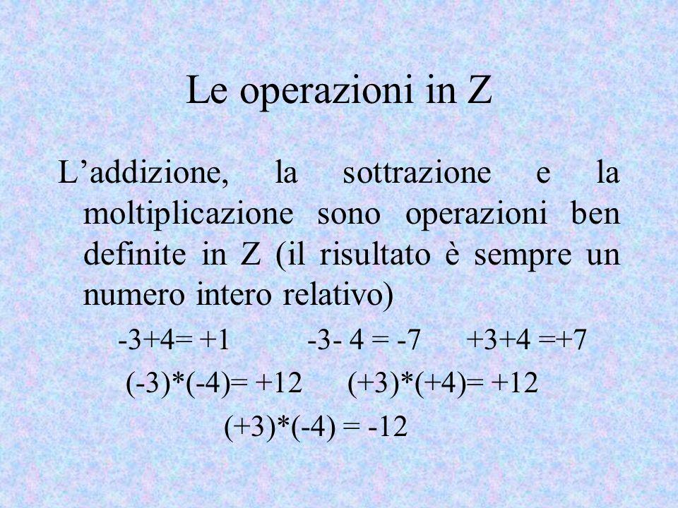 Le operazioni in Z Laddizione, la sottrazione e la moltiplicazione sono operazioni ben definite in Z (il risultato è sempre un numero intero relativo) -3+4= +1 -3- 4 = -7 +3+4 =+7 (-3)*(-4)= +12 (+3)*(+4)= +12 (+3)*(-4) = -12