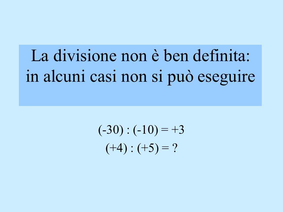 La divisione non è ben definita: in alcuni casi non si può eseguire (-30) : (-10) = +3 (+4) : (+5) = ?