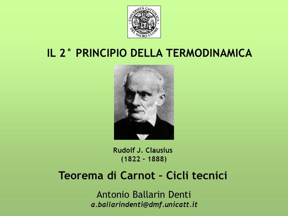 IL 2° PRINCIPIO DELLA TERMODINAMICA Antonio Ballarin Denti a.ballarindenti@dmf.unicatt.it Rudolf J. Clausius (1822 - 1888) Teorema di Carnot – Cicli t