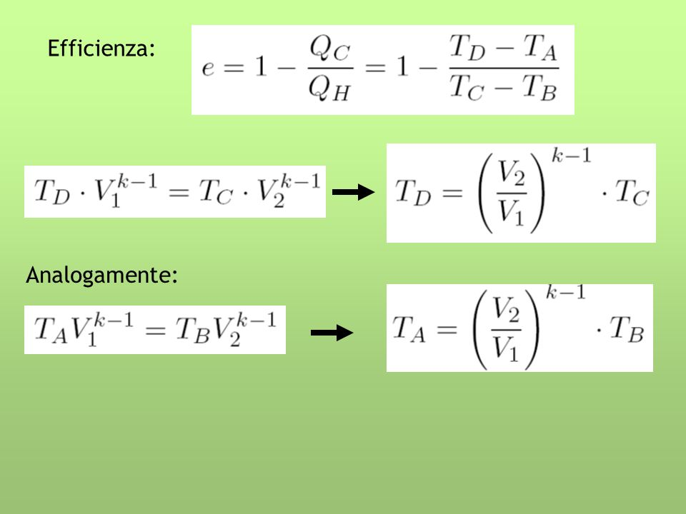 Con opportune sostituzioni: Rapporto di compressione R = V 1 /V 2 maggiore è R, più alto è il rendimento