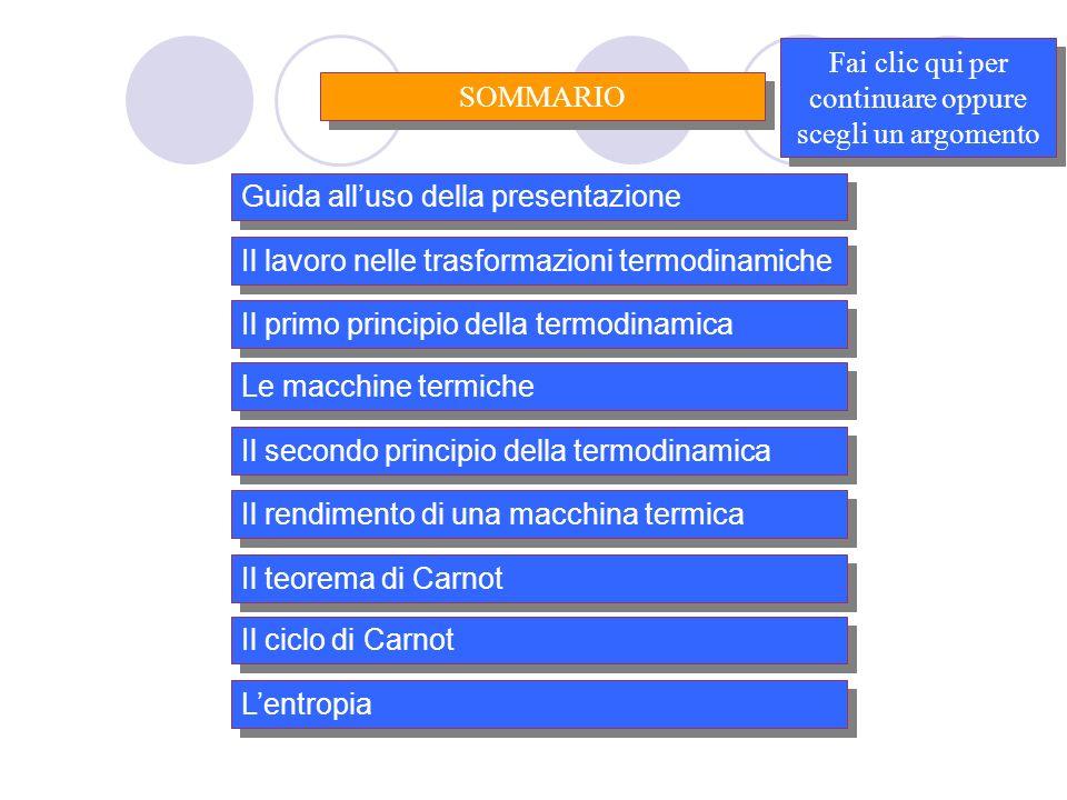 Il primo principio della termodinamica Il secondo principio della termodinamica Il teorema di Carnot Fai clic qui per continuare oppure scegli un argo