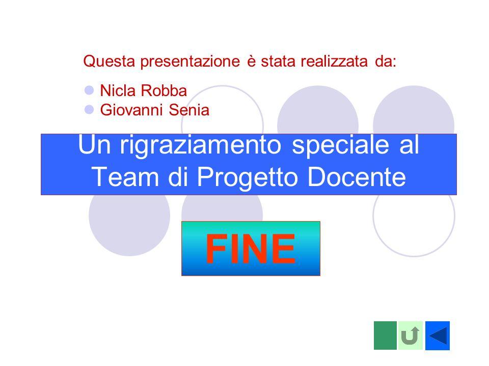 Un rigraziamento speciale al Team di Progetto Docente Questa presentazione è stata realizzata da: Nicla Robba Giovanni Senia FINE