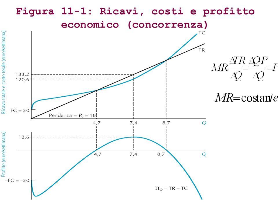 Figura 11-1: Ricavi, costi e profitto economico (concorrenza)