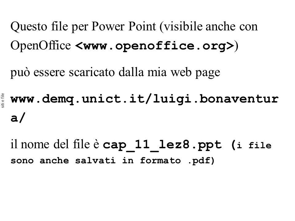Questo file per Power Point (visibile anche con OpenOffice ) può essere scaricato dalla mia web page www.demq.unict.it/luigi.bonaventur a/ il nome del file è cap_11_lez8.ppt ( i file sono anche salvati in formato.pdf) siti e file