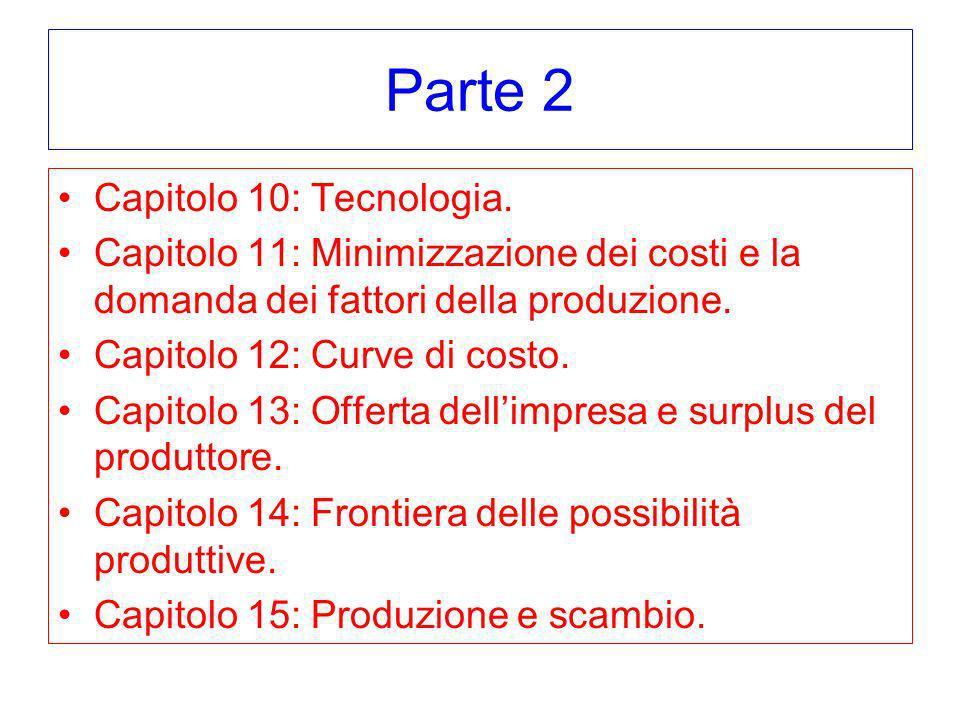 Parte 2 Capitolo 10: Tecnologia. Capitolo 11: Minimizzazione dei costi e la domanda dei fattori della produzione. Capitolo 12: Curve di costo. Capitol