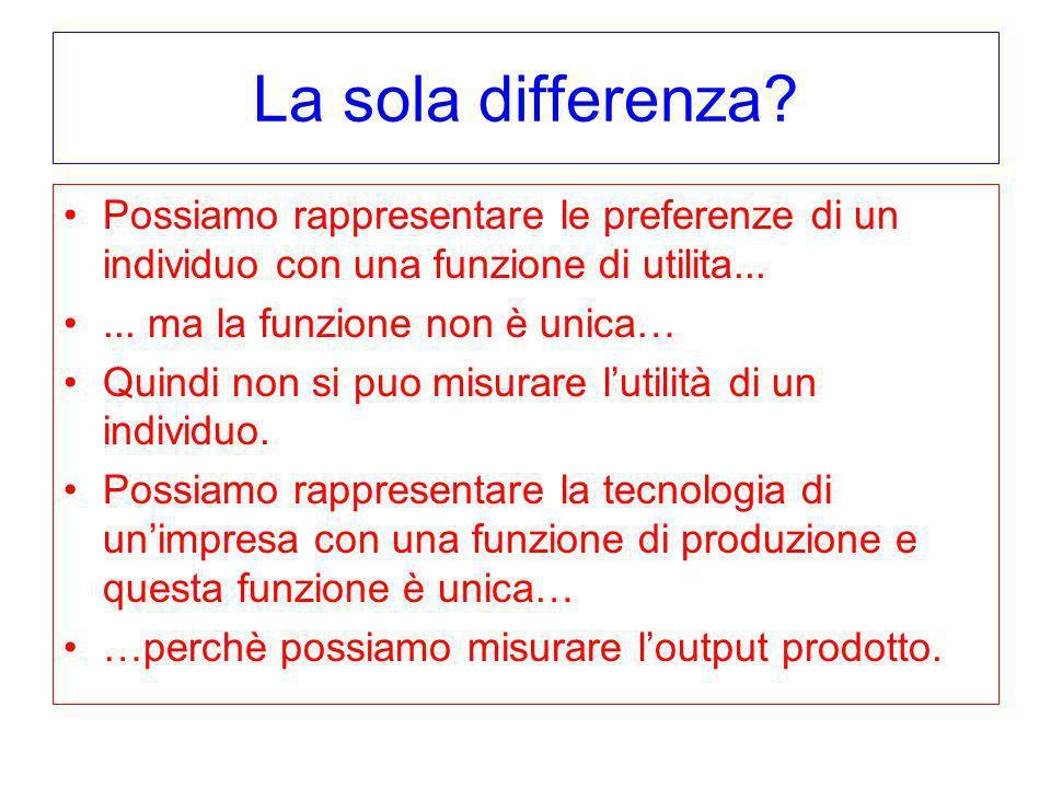 La sola differenza? Possiamo rappresentare le preferenze di un individuo con una funzione di utilita...... ma la funzione non è unica… Quindi non si p