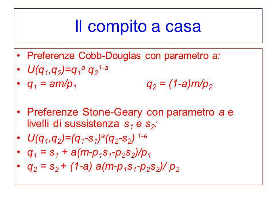 Il compito a casa Preferenze Cobb-Douglas con parametro a: U(q 1,q 2 )=q 1 a q 2 1-a q 1 = am/p 1 q 2 = (1-a)m/p 2 Preferenze Stone-Geary con parametr