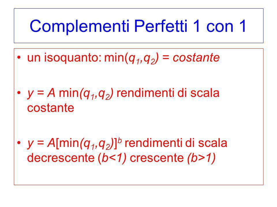 Complementi Perfetti 1 con 1 un isoquanto: min(q 1,q 2 ) = costante y = A min(q 1,q 2 ) rendimenti di scala costante y = A[min(q 1,q 2 )] b rendimenti