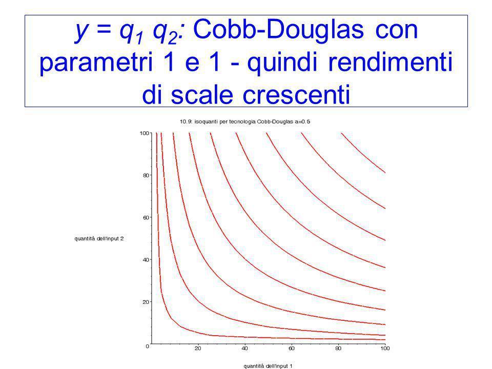 y = q 1 q 2 : Cobb-Douglas con parametri 1 e 1 - quindi rendimenti di scale crescenti
