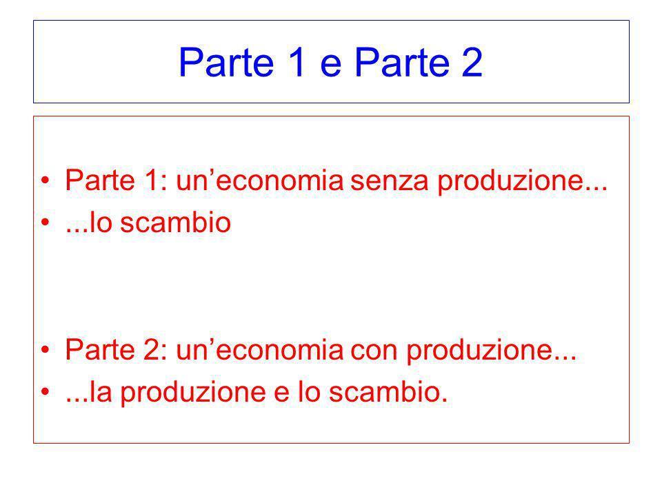 Parte 1 e Parte 2 Parte 1: uneconomia senza produzione......lo scambio Parte 2: uneconomia con produzione......la produzione e lo scambio.
