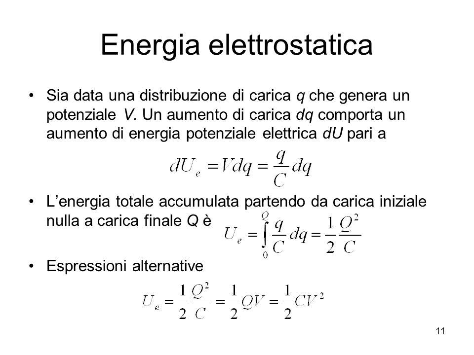 Energia elettrostatica Sia data una distribuzione di carica q che genera un potenziale V. Un aumento di carica dq comporta un aumento di energia poten
