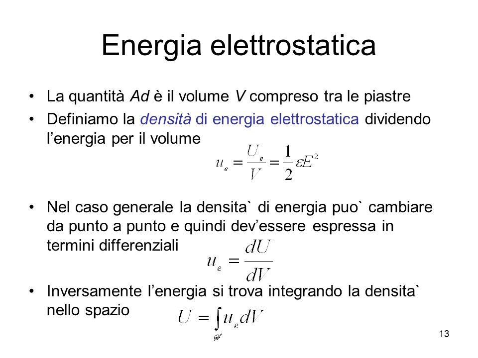 Energia elettrostatica La quantità Ad è il volume V compreso tra le piastre Definiamo la densità di energia elettrostatica dividendo lenergia per il v