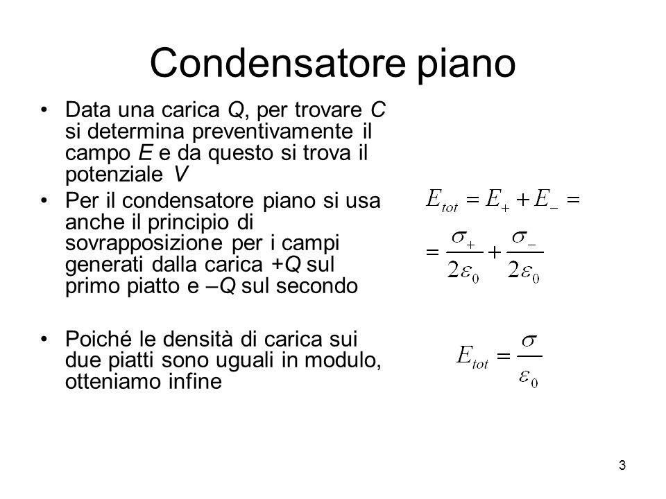 Condensatore piano Cioè il campo E è costante tra le due piastre La ddp tra i due piatti è E la capacità è 4 - + E dldl