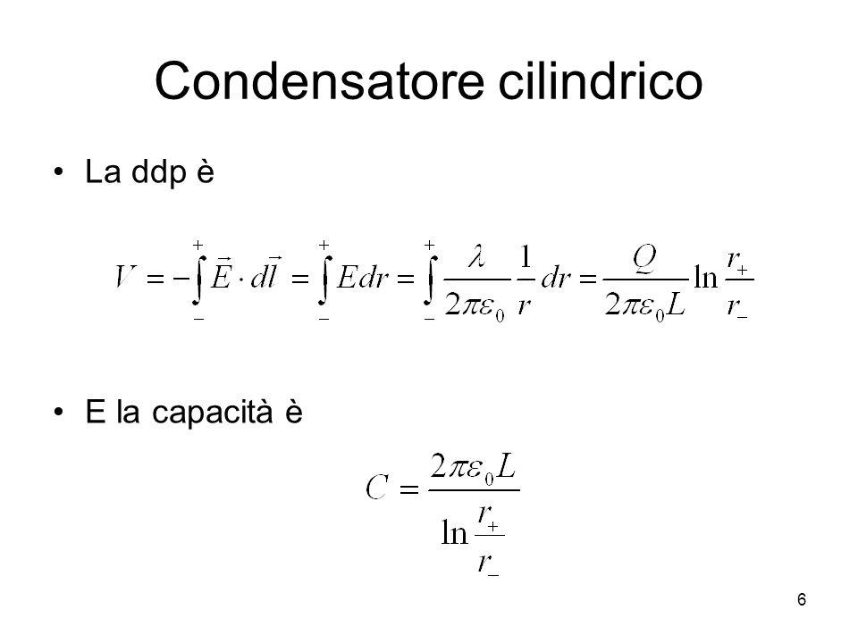 Condensatore cilindrico La ddp è E la capacità è 6