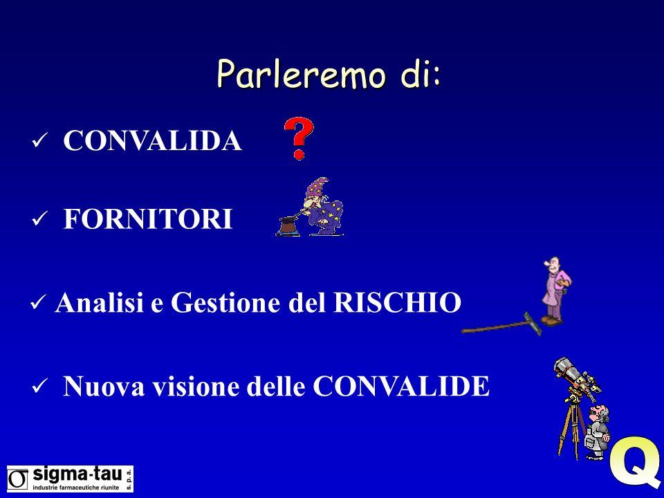 Parleremo di: FORNITORI CONVALIDA Nuova visione delle CONVALIDE Analisi e Gestione del RISCHIO