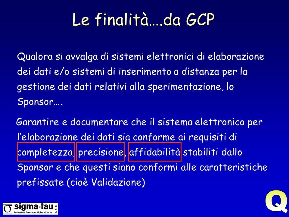 Le finalità….da GCP Qualora si avvalga di sistemi elettronici di elaborazione dei dati e/o sistemi di inserimento a distanza per la gestione dei dati relativi alla sperimentazione, lo Sponsor….