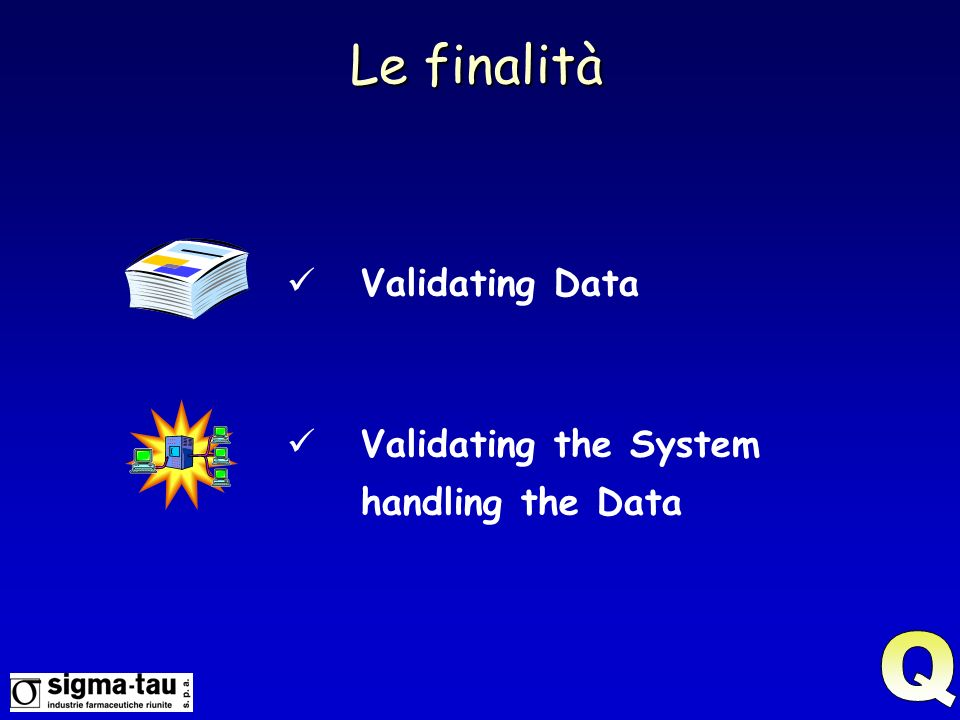 Le finalità Validating Data Validating the System handling the Data