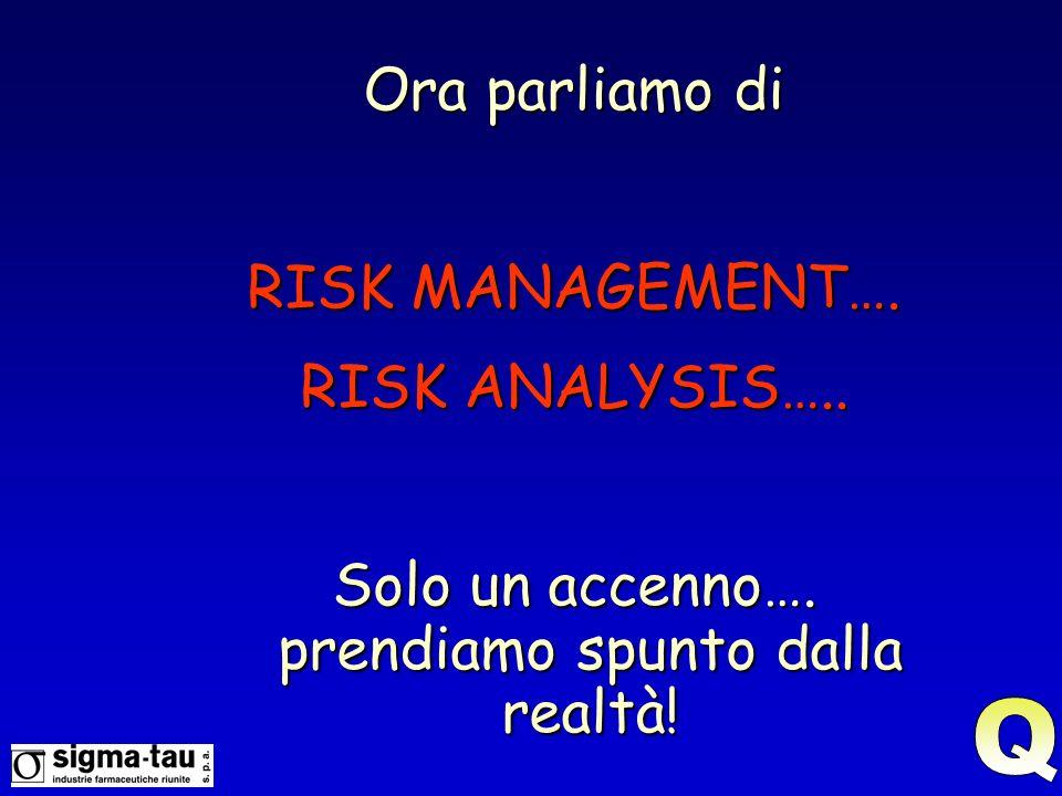 Ora parliamo di RISK MANAGEMENT…. RISK ANALYSIS….. Solo un accenno…. prendiamo spunto dalla realtà!