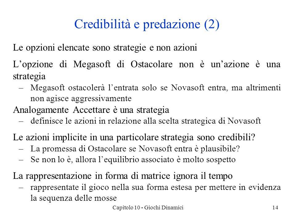 Capitolo 10 - Giochi Dinamici14 Credibilità e predazione (2) Le opzioni elencate sono strategie e non azioni Lopzione di Megasoft di Ostacolare non è unazione è una strategia –Megasoft ostacolerà lentrata solo se Novasoft entra, ma altrimenti non agisce aggressivamente Analogamente Accettare è una strategia –definisce le azioni in relazione alla scelta strategica di Novasoft Le azioni implicite in una particolare strategia sono credibili.