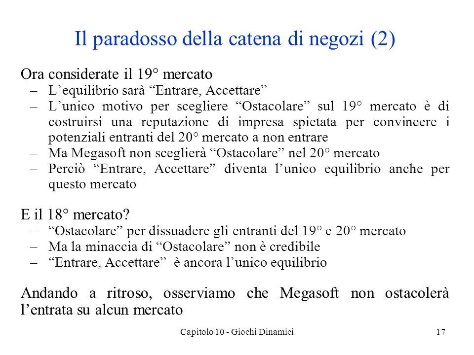 Capitolo 10 - Giochi Dinamici18 Esercizi Esercizio 1 Si consideri un gioco di Stackelberg di concorrenza sulla quantità fra 2 imprese.