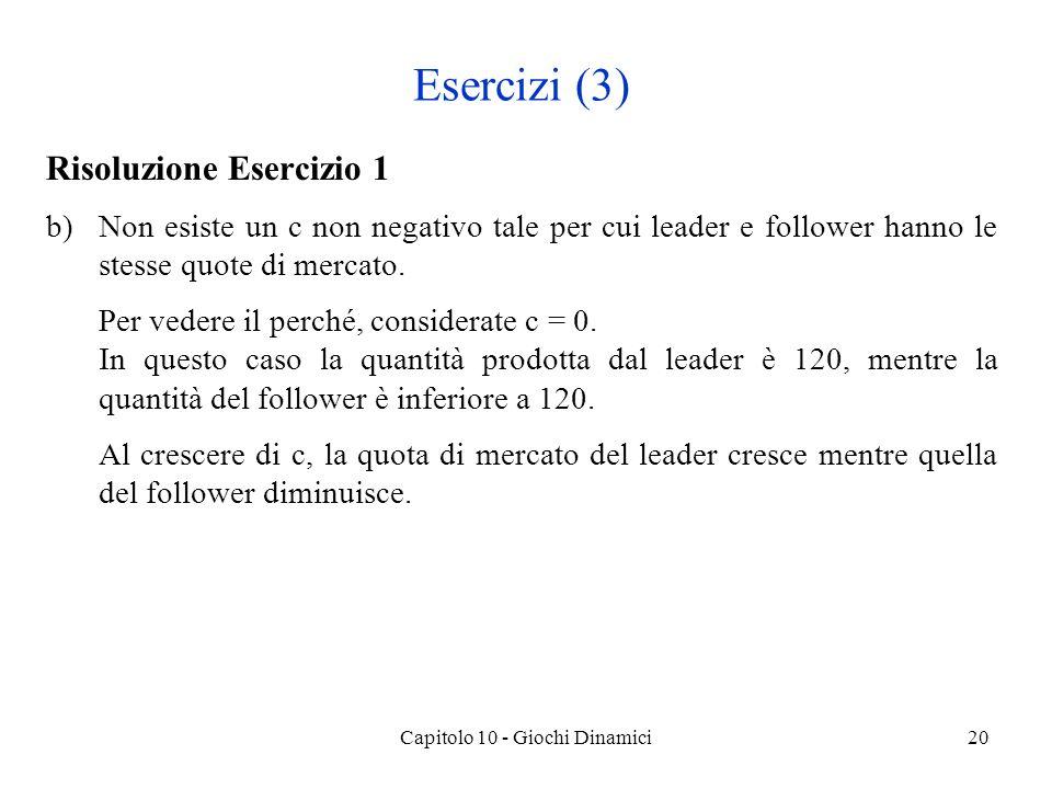 Risoluzione Esercizio 1 b)Non esiste un c non negativo tale per cui leader e follower hanno le stesse quote di mercato.