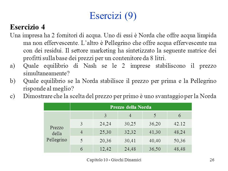 Capitolo 10 - Giochi Dinamici26 Esercizi (9) Esercizio 4 Una impresa ha 2 fornitori di acqua.
