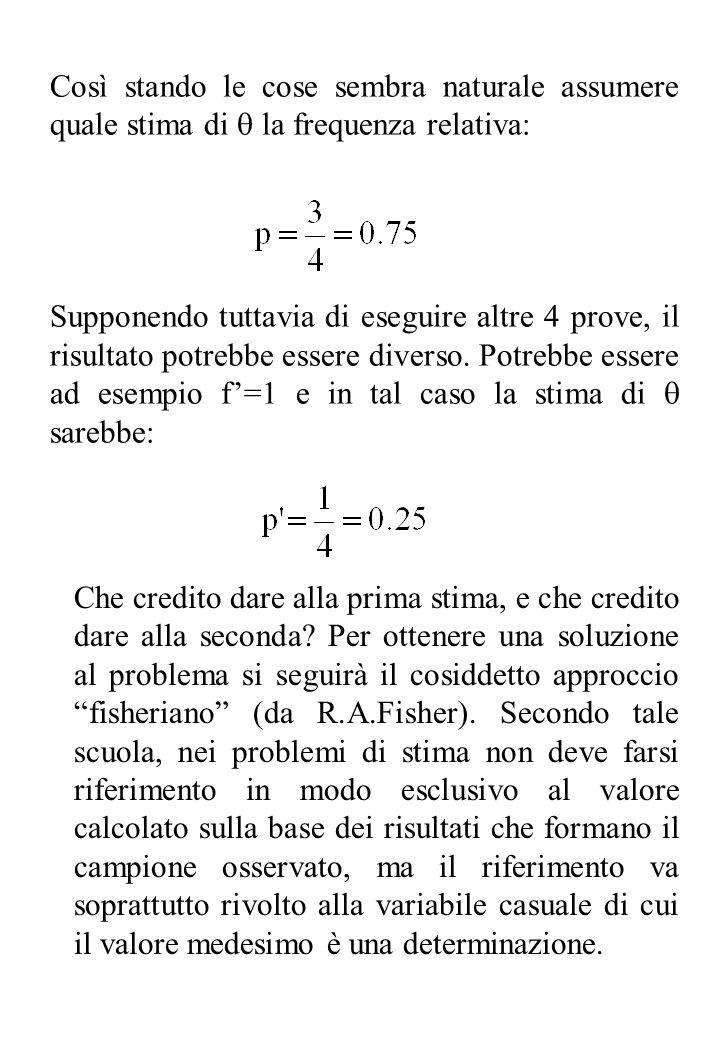 Nel caso dellesempio precedente, non deve tanto badarsi al valore p=f/n = ¾ ottenuto con le n=4 prove casuali nei riguardi dellevento E, ma alle proprietà della v.c.: descritta dalla frequenza relativa f/n al variare del campione, v.c.