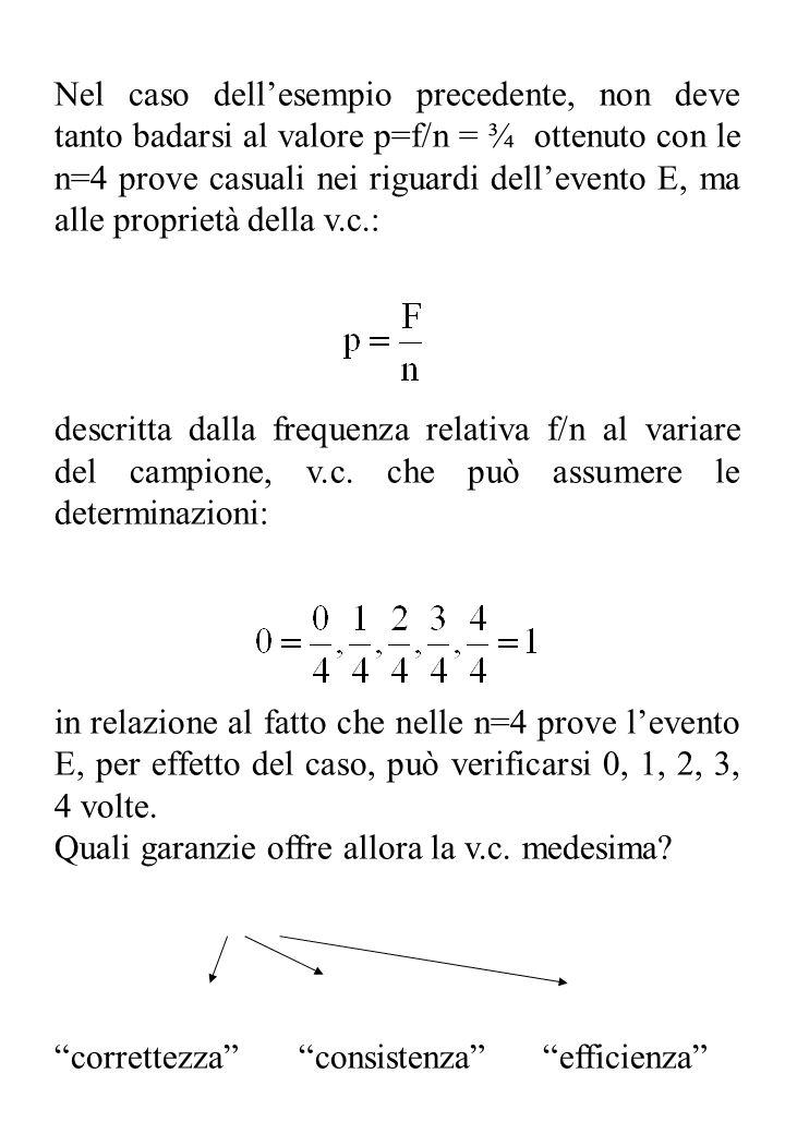 Nel caso dellesempio precedente, non deve tanto badarsi al valore p=f/n = ¾ ottenuto con le n=4 prove casuali nei riguardi dellevento E, ma alle propr
