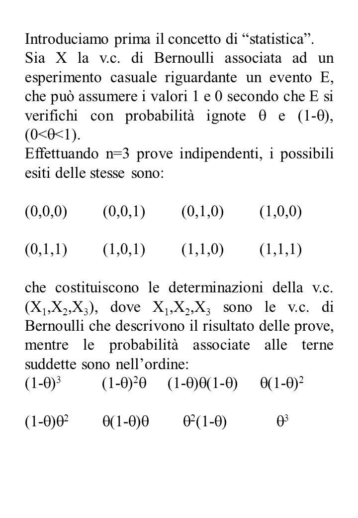 Introduciamo prima il concetto di statistica. Sia X la v.c. di Bernoulli associata ad un esperimento casuale riguardante un evento E, che può assumere