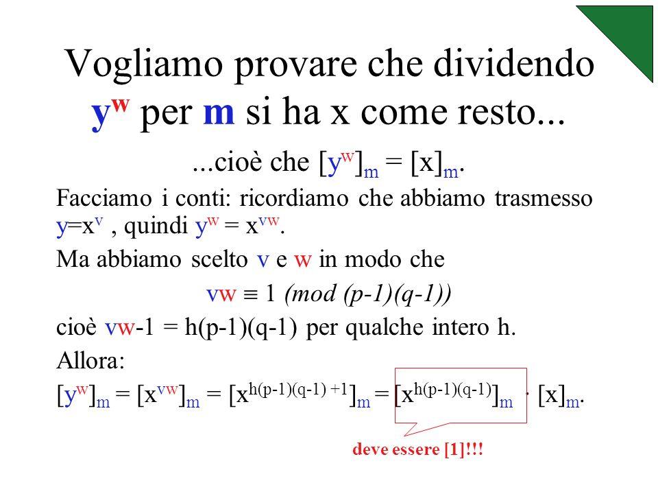 Consideriamo Z m = {[0],[1],[2],..., [m-1]} Abbiamo scelto x << p e x << q, quindi sarà anche x << m=pq.