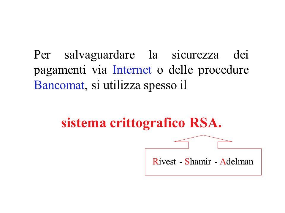 Per salvaguardare la sicurezza dei pagamenti via Internet o delle procedure Bancomat, si utilizza spesso il sistema crittografico RSA.