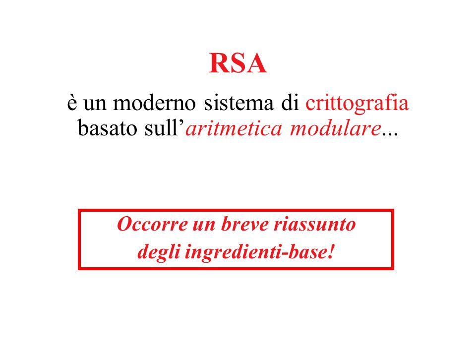 RSA è un moderno sistema di crittografia basato sullaritmetica modulare...