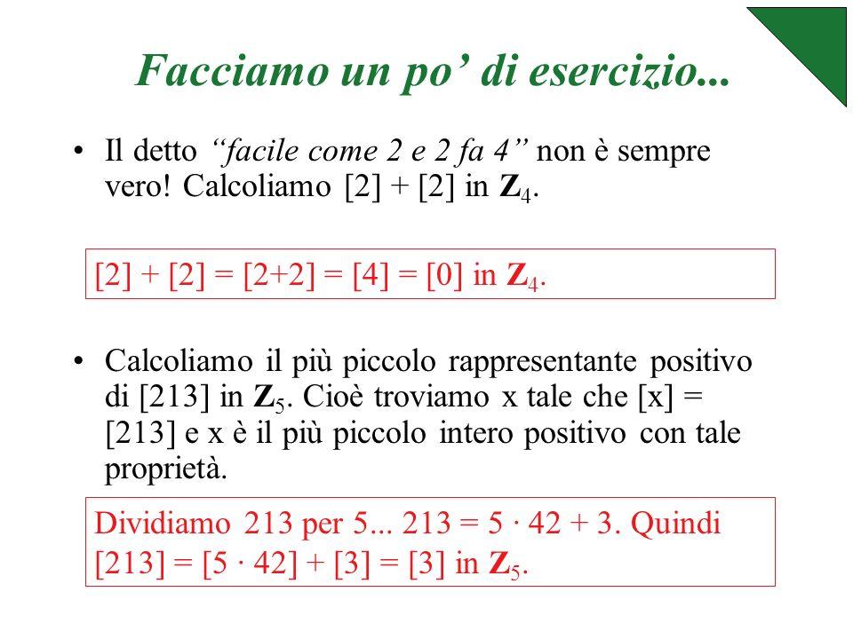 In generale: Z p è linsieme di tutte le classi modulo p cioè Z p = {[0],[1],[2],..., [p-1]}.