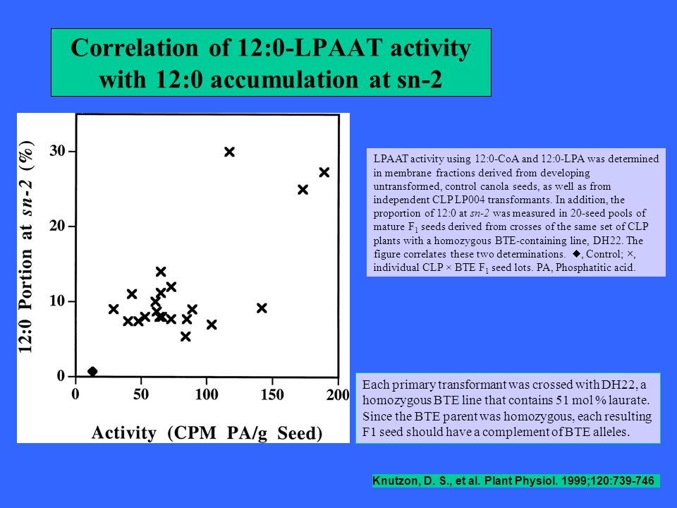 Correlation of 12:0-LPAAT activity with 12:0 accumulation at sn-2 Knutzon, D. S., et al. Plant Physiol. 1999;120:739-746 LPAAT activity using 12:0-CoA