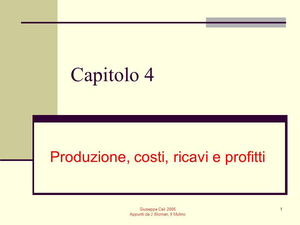 Giuseppe Celi 2006 Appunti da J.Sloman, Il Mulino 1 Capitolo 4 Produzione, costi, ricavi e profitti