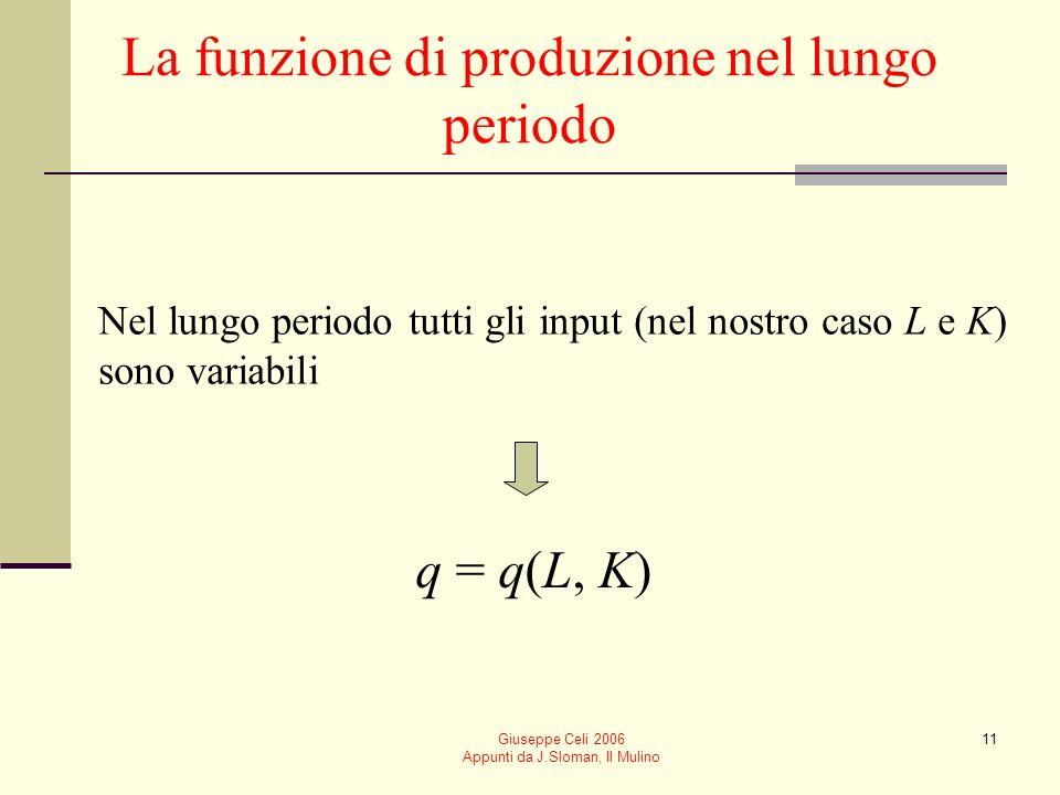 Giuseppe Celi 2006 Appunti da J.Sloman, Il Mulino 10 Relazione tra produzione totale e produttività media e marginale PMG L è crescente fin quando la
