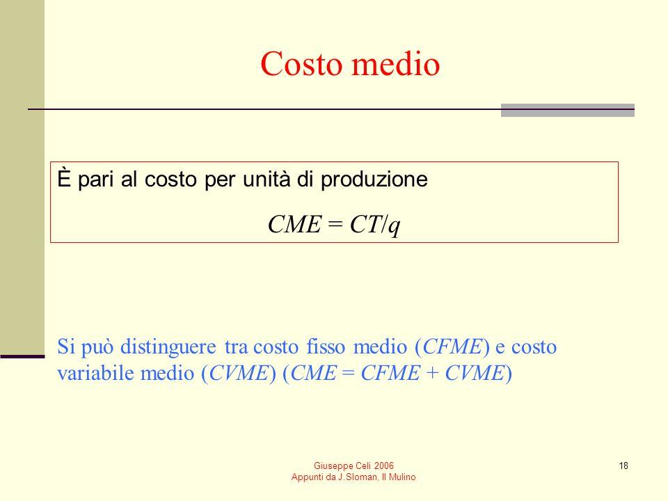 Giuseppe Celi 2006 Appunti da J.Sloman, Il Mulino 17 Costo totale Il costo totale di produzione CT = CT(q) è dato dalla somma tra Costo fisso (CF) dato dal costo per acquisire i fattori di produzione fissi Costo variabile (CV) dato dal costo per acquisire i fattori variabili
