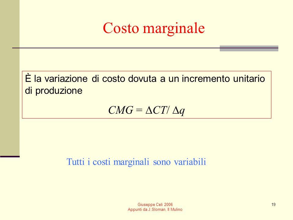 Giuseppe Celi 2006 Appunti da J.Sloman, Il Mulino 18 Costo medio È pari al costo per unità di produzione CME = CT/q Si può distinguere tra costo fisso medio (CFME) e costo variabile medio (CVME) (CME = CFME + CVME)