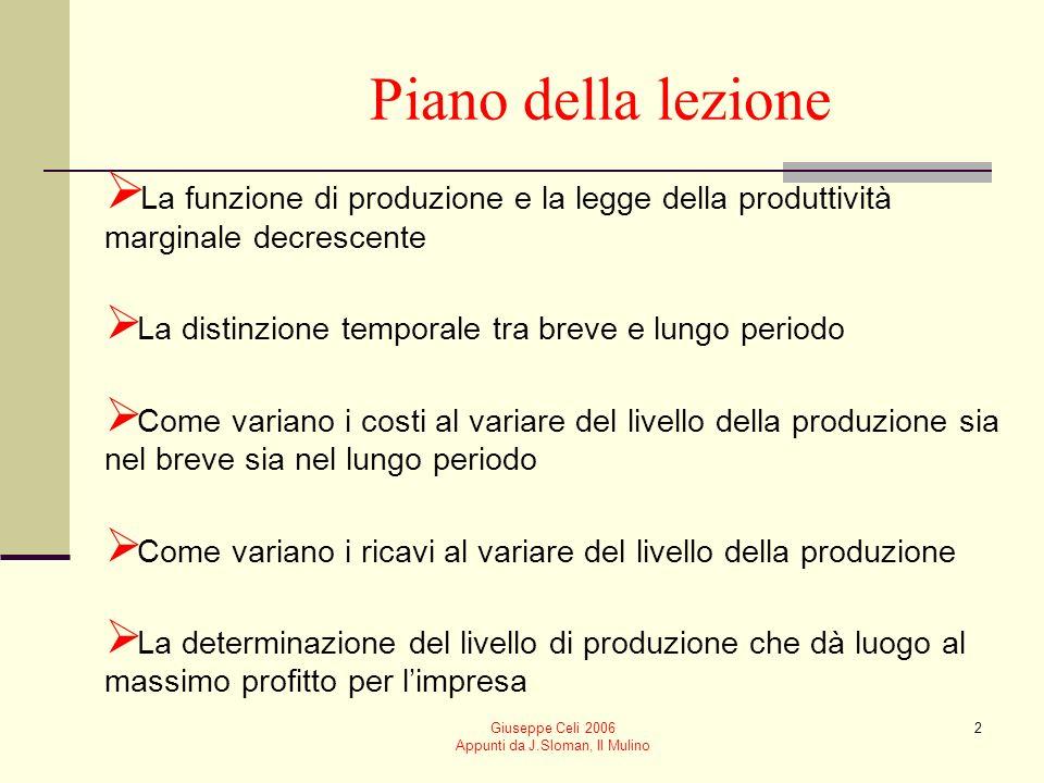 Giuseppe Celi 2006 Appunti da J.Sloman, Il Mulino 42 D = RME= RMG D S Il mercatoLimpresa pepe Q q p 00 p Impresa price-taker: ricavo medio e marginale