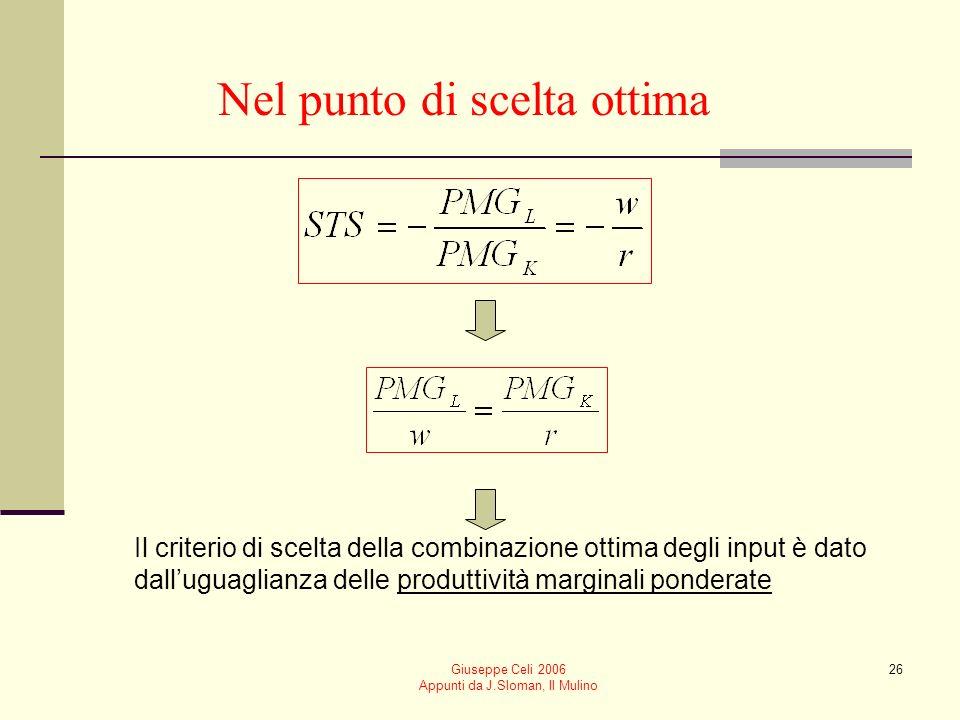 Giuseppe Celi 2006 Appunti da J.Sloman, Il Mulino 25 La combinazione ottima degli input Dato il livello di produzione fissato, q*, limpresa sceglie la